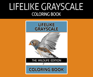 The Lifelike Wildlife Grayscale Coloring Book Affiliate Banner - 300x250